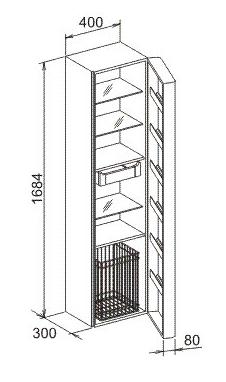 keuco elegance hochschrank rechts mit w schekorb. Black Bedroom Furniture Sets. Home Design Ideas