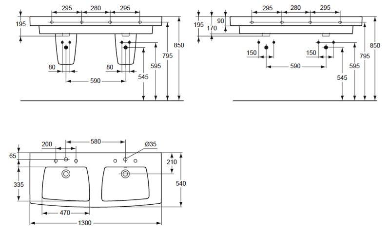 ideal standard ventuno aufsatz doppelwaschtisch 130 cm. Black Bedroom Furniture Sets. Home Design Ideas
