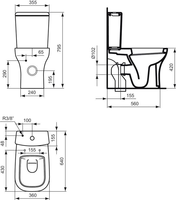ideal standard softmood sp lkasten f r wc kombination. Black Bedroom Furniture Sets. Home Design Ideas
