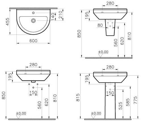 vitra s50 waschtisch 60 cm art 5302l003 0016 megabad. Black Bedroom Furniture Sets. Home Design Ideas