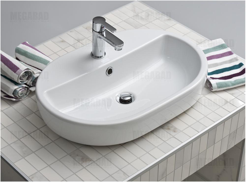 megabad omega plan aufsatz waschtisch oval 60 cm art fs00154 megabad. Black Bedroom Furniture Sets. Home Design Ideas