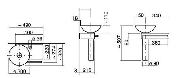 alape waschplatz wp pi1 piccolo becken links megabad. Black Bedroom Furniture Sets. Home Design Ideas