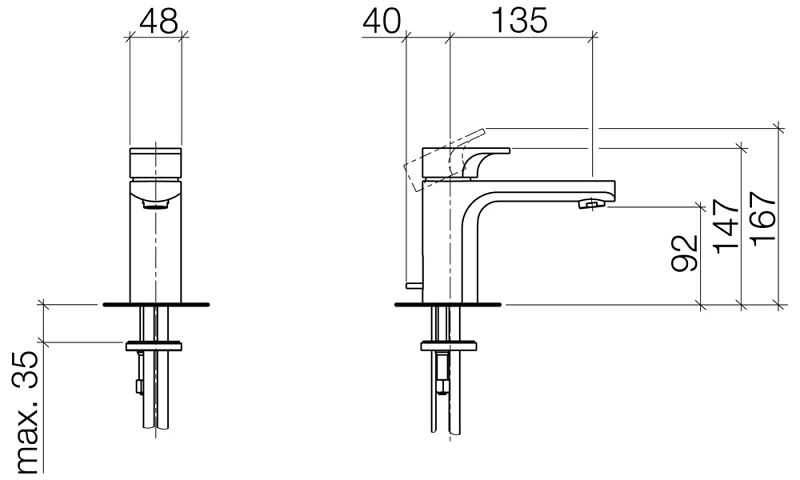 villeroy boch cult waschtisch einhebelbatterie 33500960 megabad. Black Bedroom Furniture Sets. Home Design Ideas