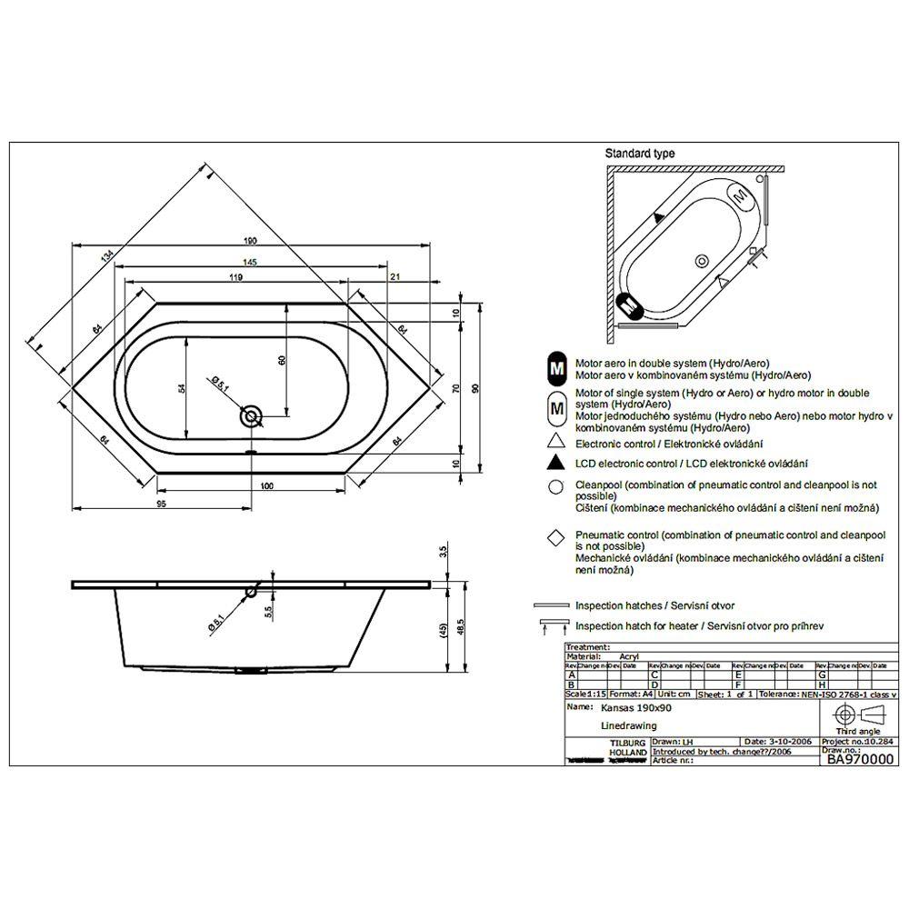 riho kansas 6 eck badewanne 190 x 90 cm ba97 megabad. Black Bedroom Furniture Sets. Home Design Ideas