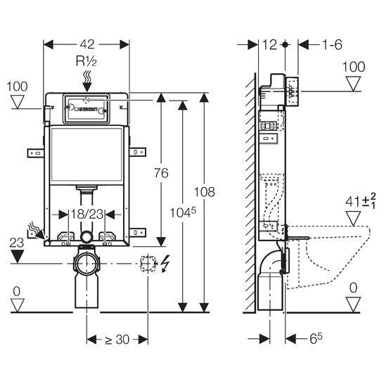 geberit kombifix element wand wc 108 cm delta up. Black Bedroom Furniture Sets. Home Design Ideas