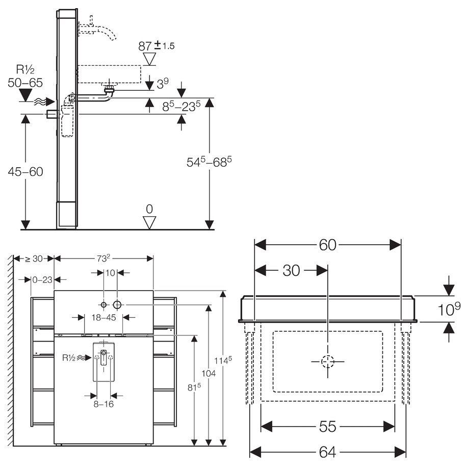 monolith sanit rmodul f r waschtische und wandarmatur megabad. Black Bedroom Furniture Sets. Home Design Ideas