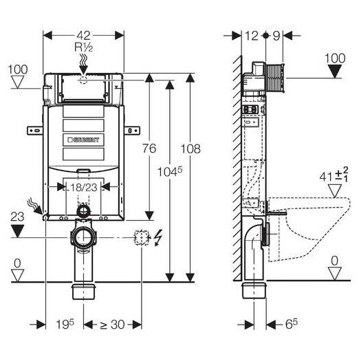geberit kombifix element f r wand wc 108 cm m sigma up. Black Bedroom Furniture Sets. Home Design Ideas