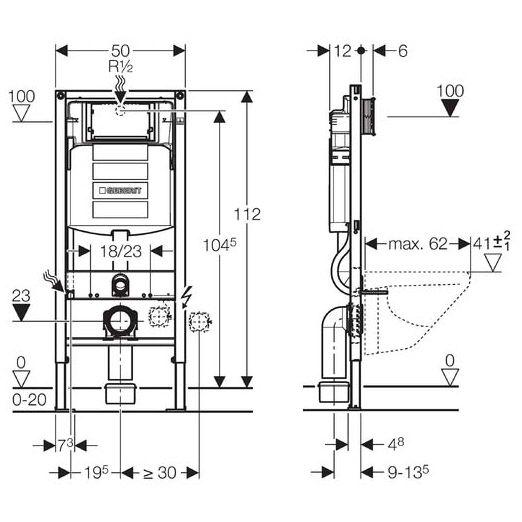 geberit duofix h he 112 cm mit sigma up sp lkasten 12 cm megabad. Black Bedroom Furniture Sets. Home Design Ideas