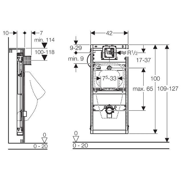 geberit gis element urinal universal min 114 cm megabad. Black Bedroom Furniture Sets. Home Design Ideas