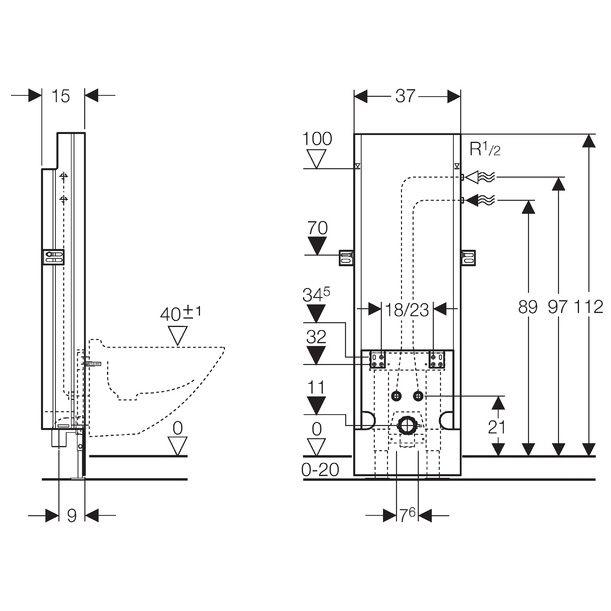 geberit sanbloc baustein f r bidet 112 cm eckventile innen megabad. Black Bedroom Furniture Sets. Home Design Ideas
