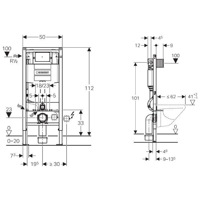 geberit duofix element 112 cm f r wand wc mit omega up sp lkasten 12 cm megabad. Black Bedroom Furniture Sets. Home Design Ideas