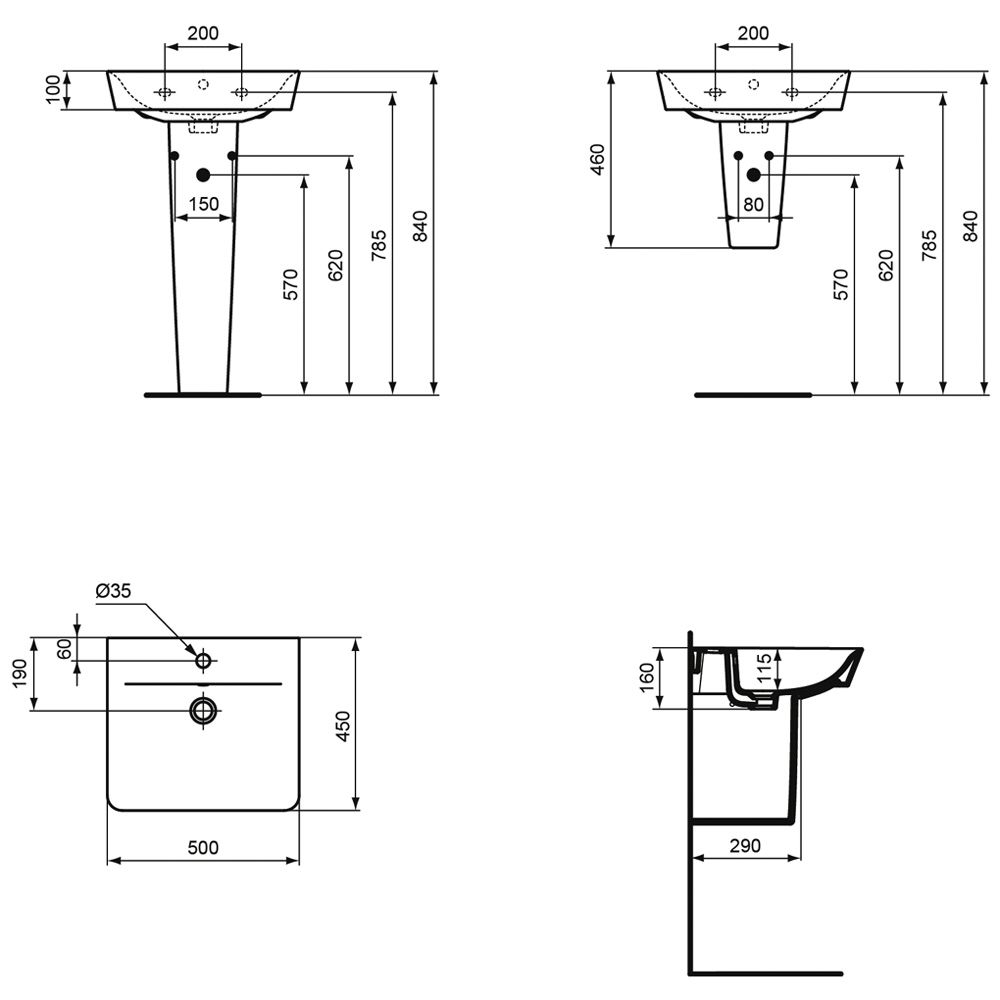 ideal standard connect cube air waschtisch 50 x 45 cm. Black Bedroom Furniture Sets. Home Design Ideas