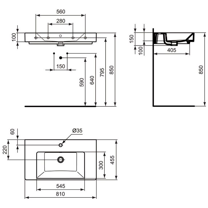 ideal standard strada m belwaschtisch 80 cm art k078801. Black Bedroom Furniture Sets. Home Design Ideas