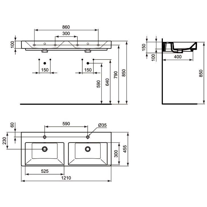 ideal standard strada m beldoppelwaschtisch 121 cm art. Black Bedroom Furniture Sets. Home Design Ideas
