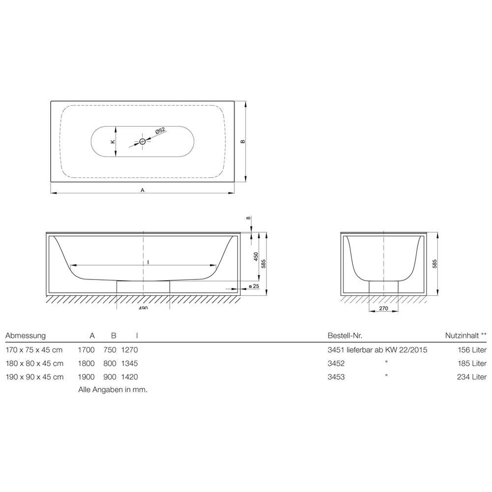 Innovativ Bette LUX Shape freistehende Badewanne 170 x 75 cm 3451-000 - MEGABAD QW59