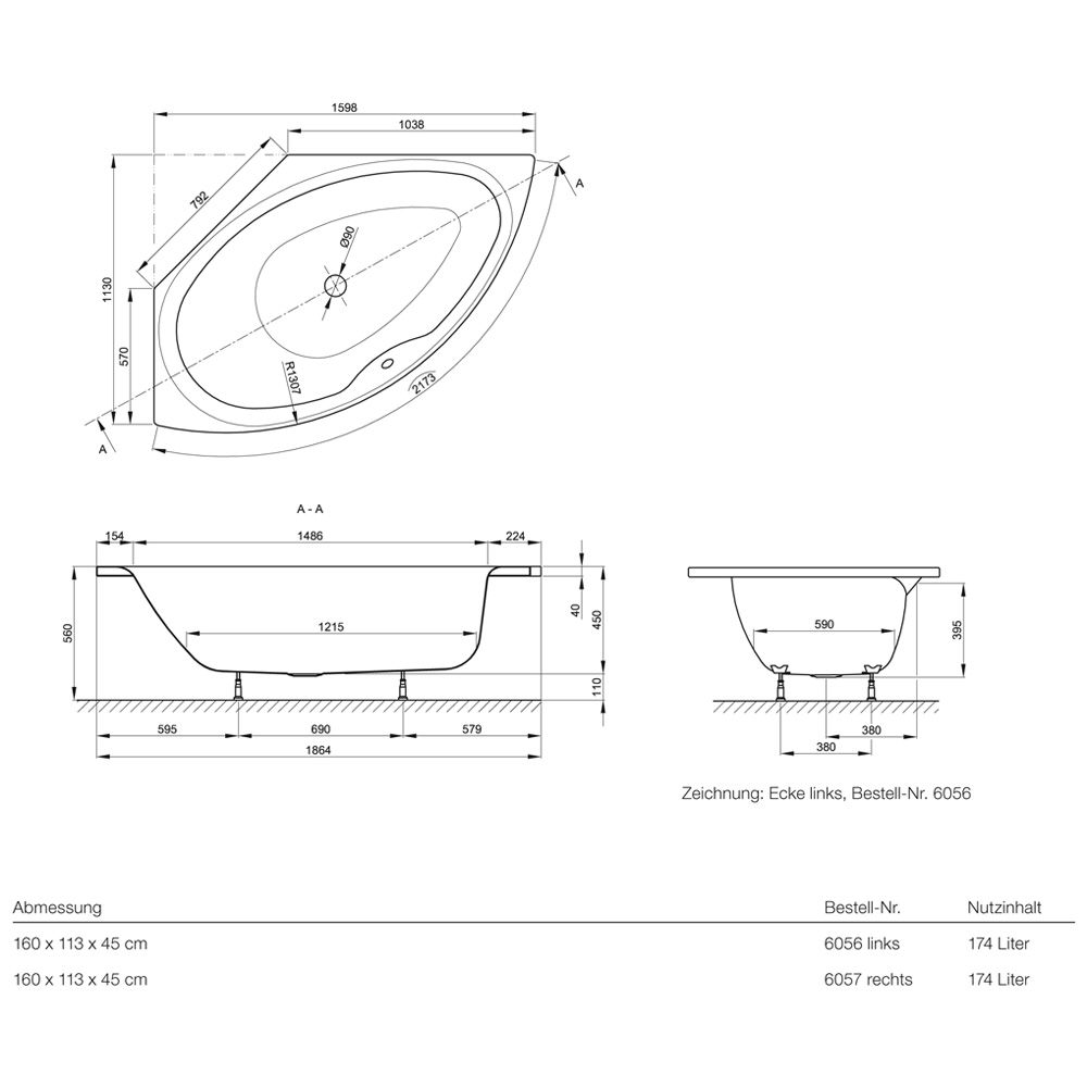 Eckbadewanne maße standard  Bette Pool III rechts Eckbadewanne 160 x 113 cm - MEGABAD