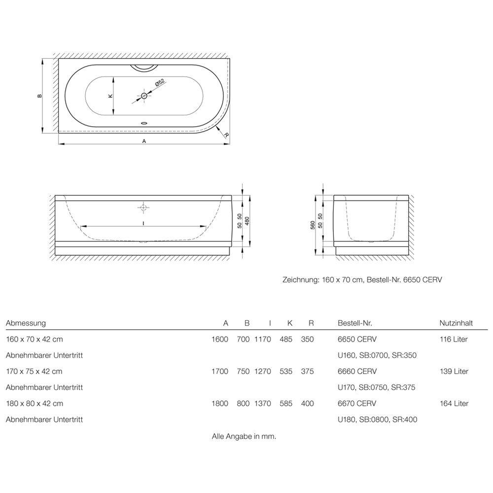 bette starlet iv comfort badewanne 180 x 80 cm 6670. Black Bedroom Furniture Sets. Home Design Ideas