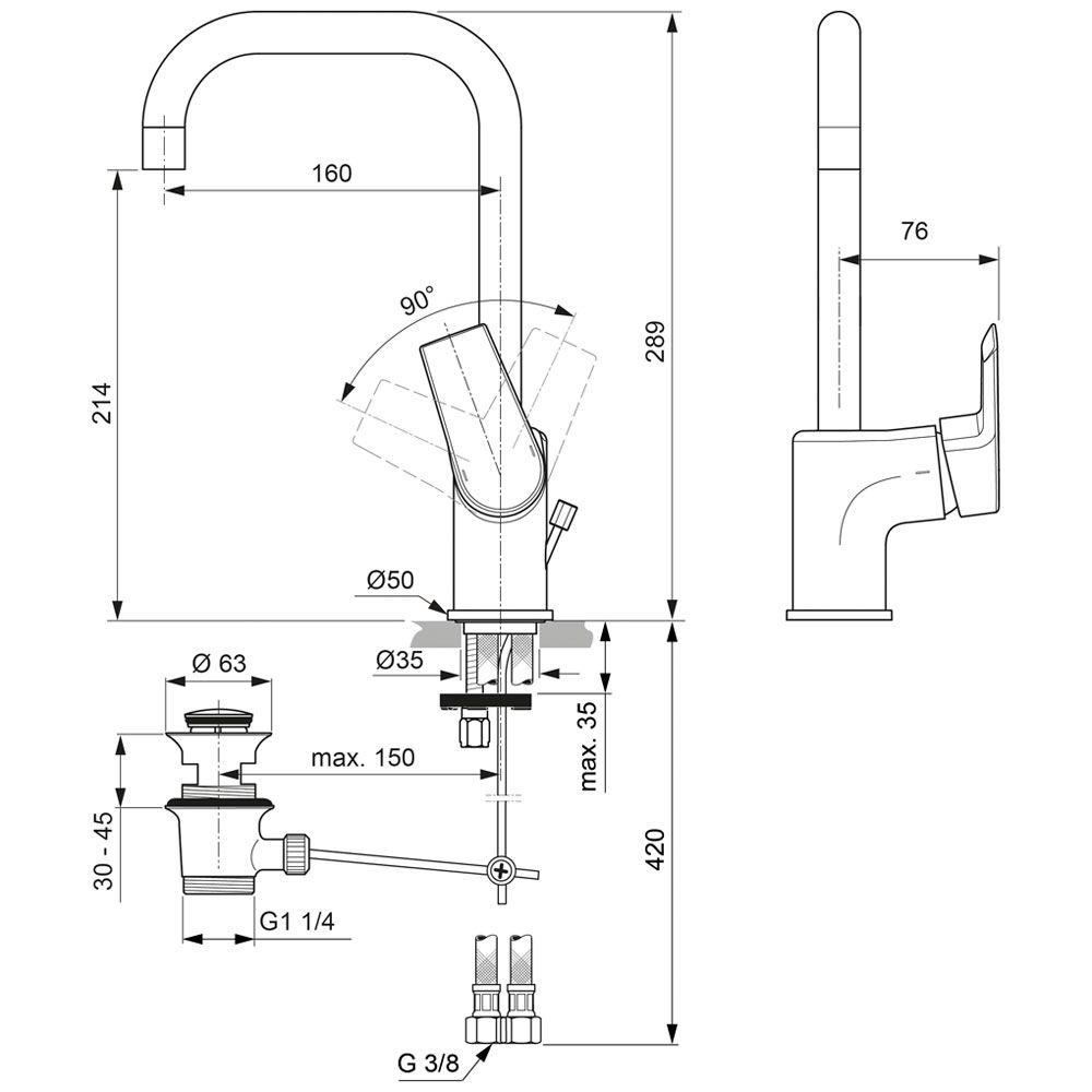 Hervorragend Ideal Standard Tesi Einhebel-Waschtischarmatur mit hohem Auslauf  FC97