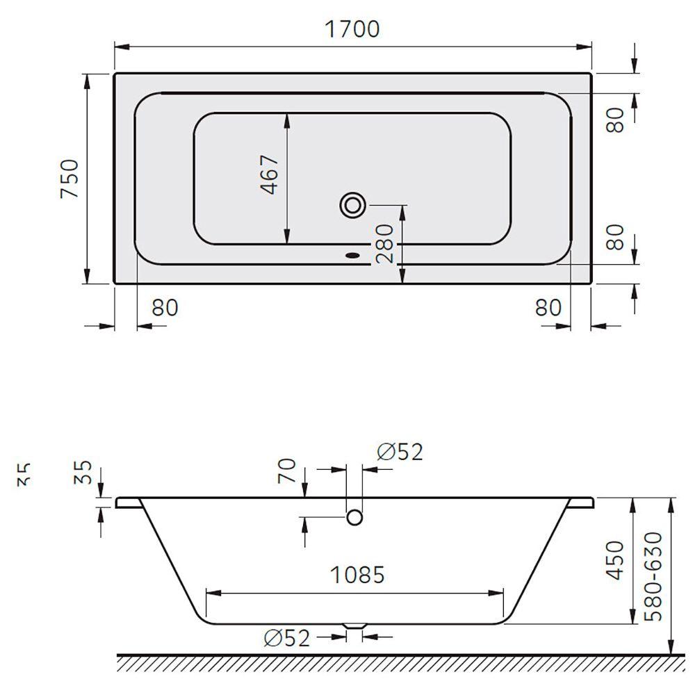 architekt plana duo badewanne 170 x 75 cm mb700335 megabad. Black Bedroom Furniture Sets. Home Design Ideas
