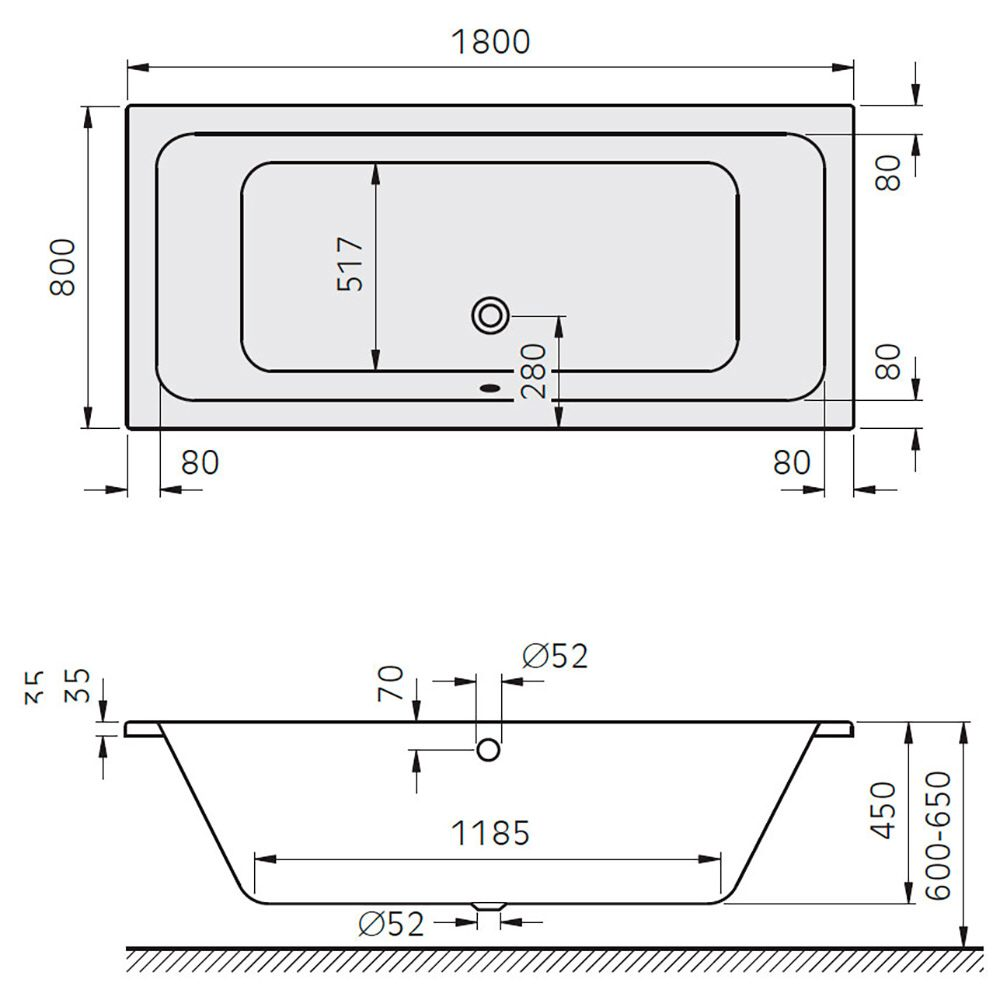 architekt plana duo badewanne 180 x 80 cm mb700338 megabad. Black Bedroom Furniture Sets. Home Design Ideas
