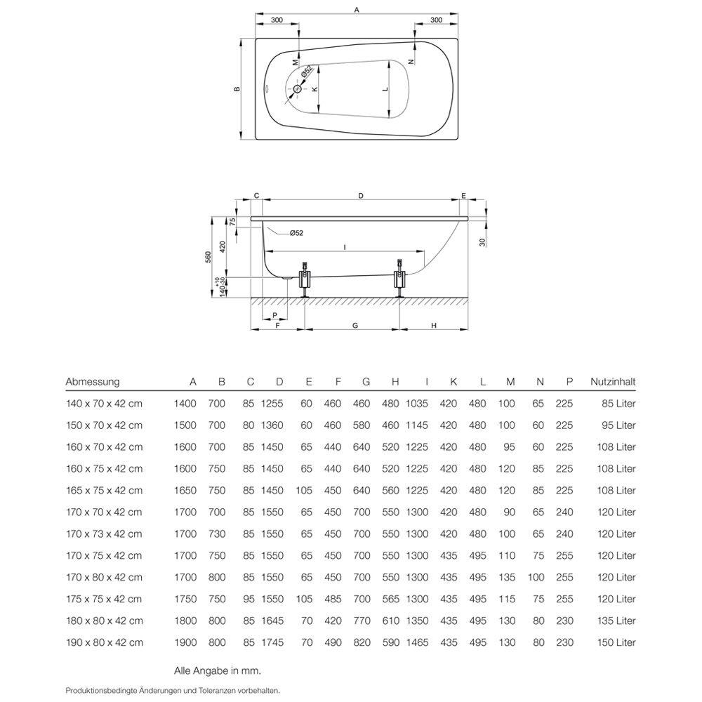 Bette Form Rechteck-Badewanne 175 x 75 x 42 cm - MEGABAD