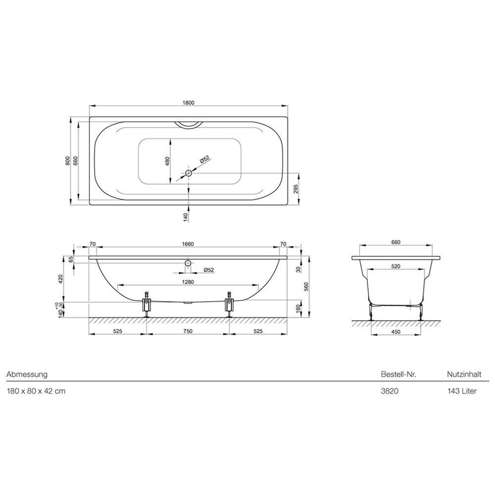bette duo badewanne 180 x 80 x 42 cm art 3820 000 megabad. Black Bedroom Furniture Sets. Home Design Ideas