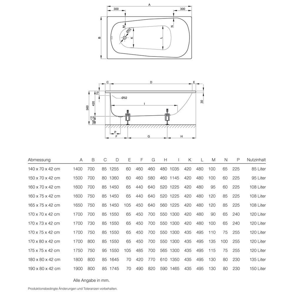 Unterschiedlich Bette Form Rechteck-Badewanne 160 x 75 x 42 cm - MEGABAD DG39