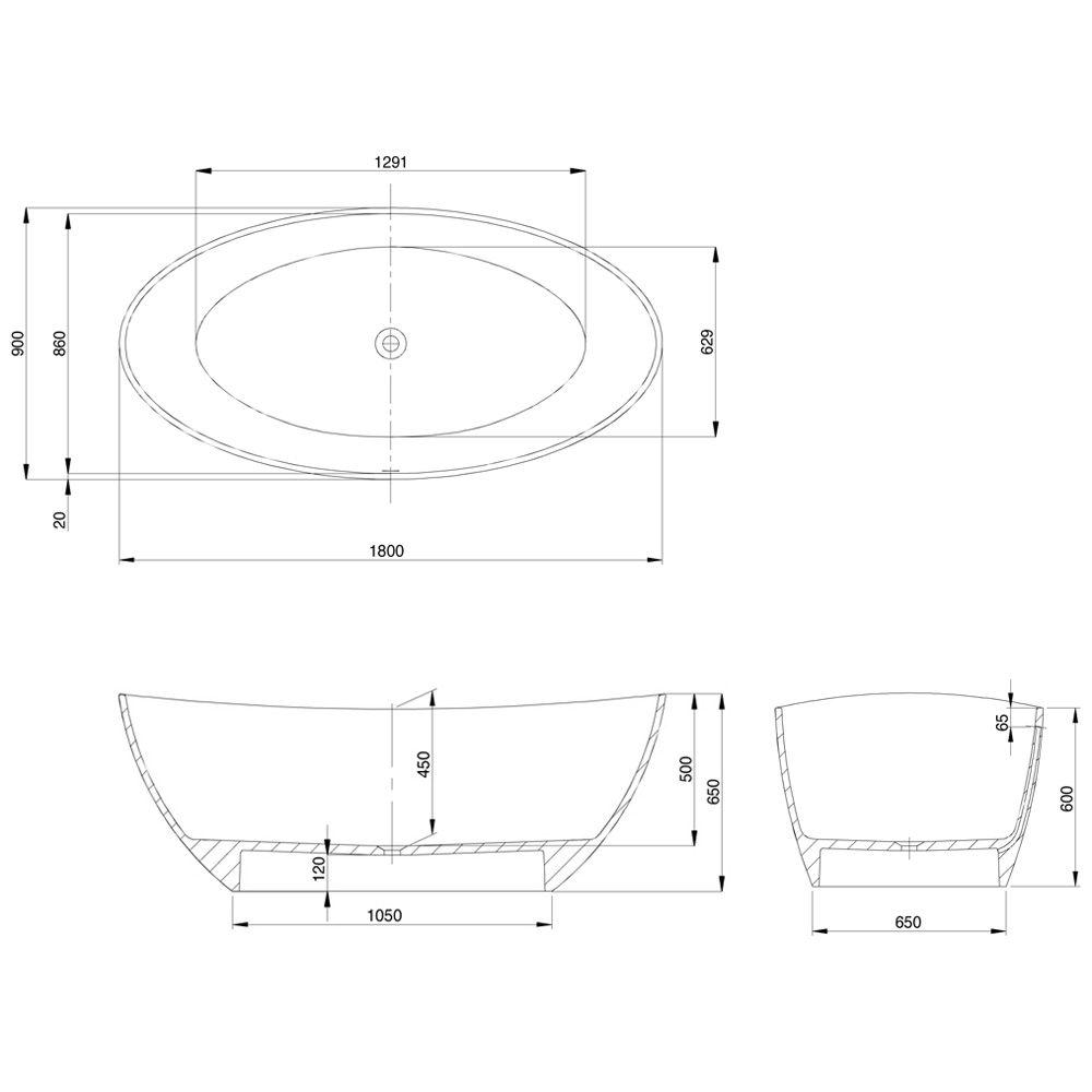 Hoesch Namur Badewanne : Hoesch namur oval badewanne cm freistehend megabad