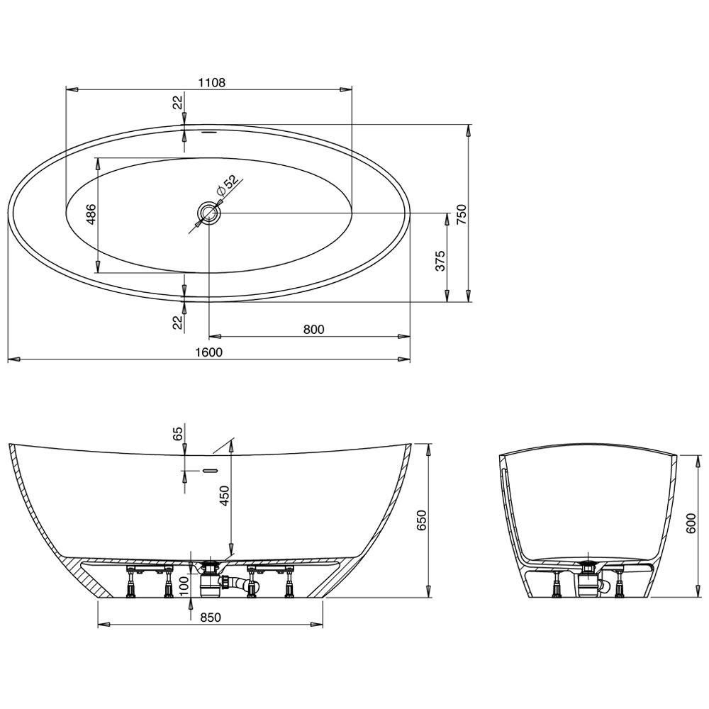 Unterschiedlich Hoesch Namur Oval-Badewanne 160 x 75 cm freistehend 4404.010 - MEGABAD DG39