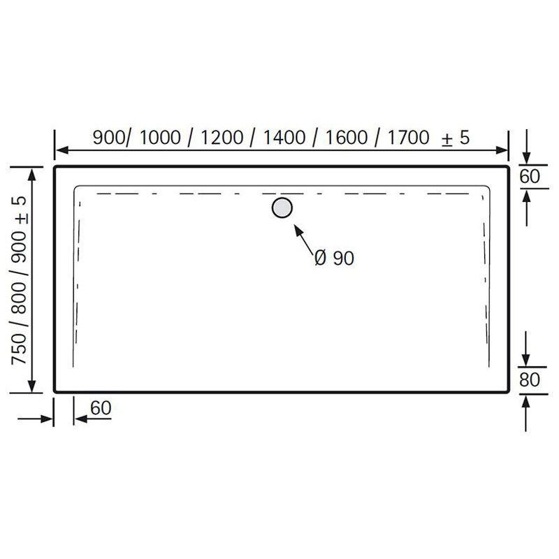 hsk acryl duschwanne superflach 90 x 120 cm megabad. Black Bedroom Furniture Sets. Home Design Ideas