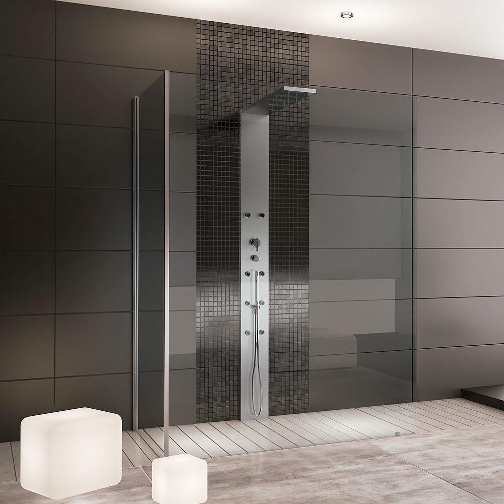 Hoesch Thasos Duschabtrennung Walk-In mit Seitenwand und Duschsäule ...