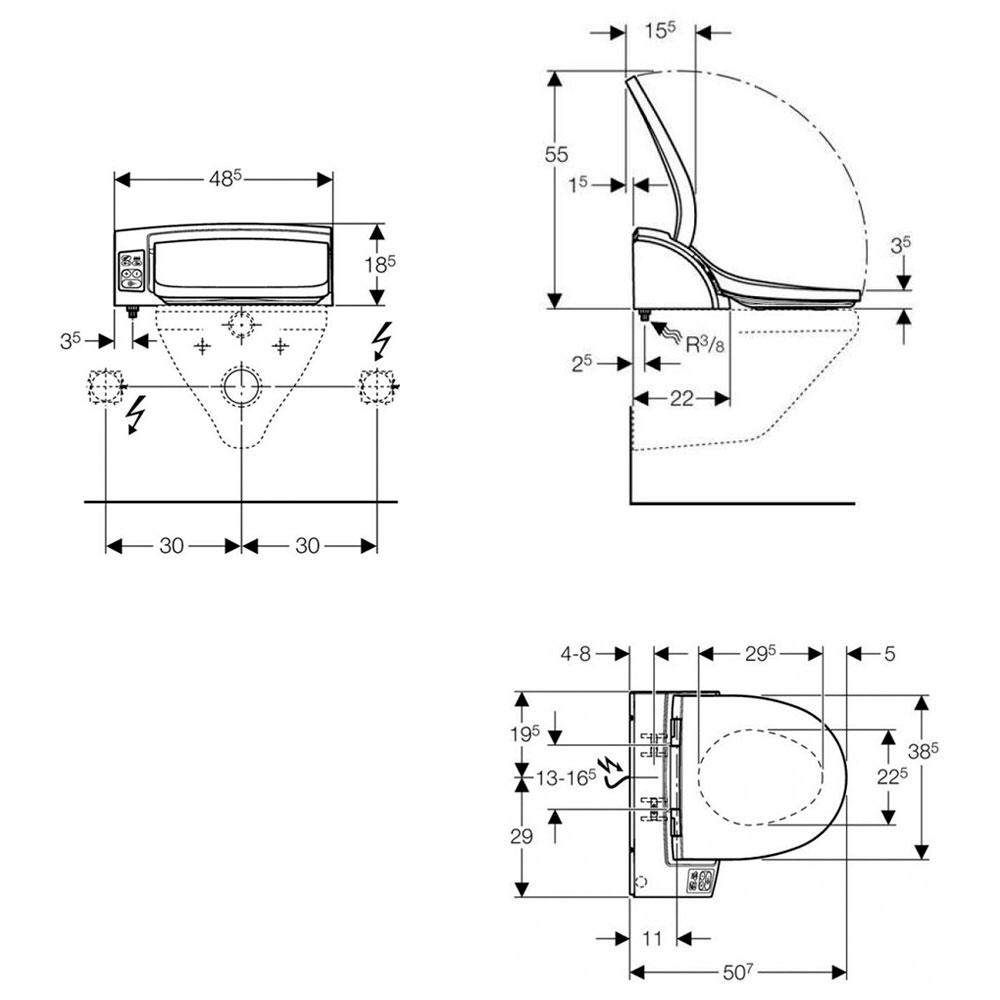 geberit aquaclean 5000plus aufsatz mit fu schalter f r duschfunktion megabad. Black Bedroom Furniture Sets. Home Design Ideas