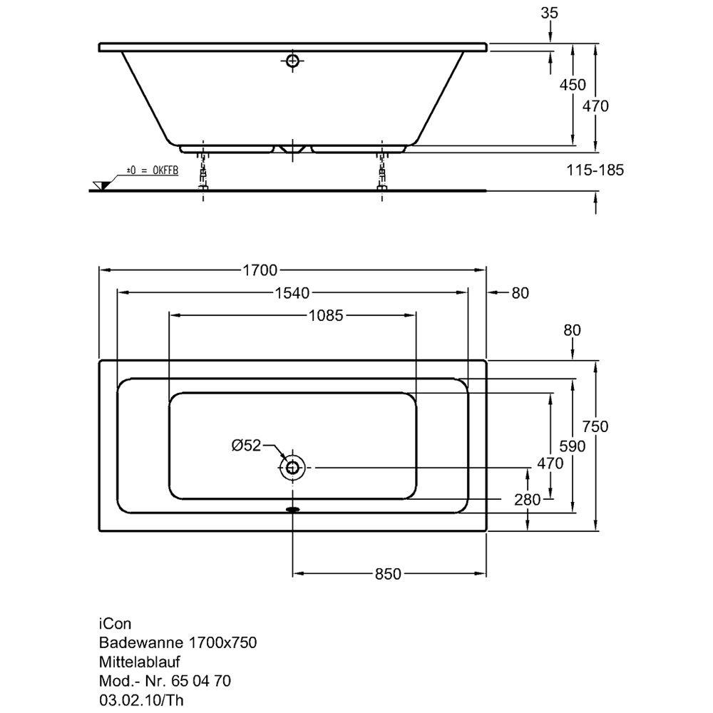 keramag icon badewanne 170 x 75 cm art 650470000 megabad. Black Bedroom Furniture Sets. Home Design Ideas