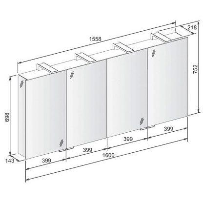 keuco royal universe spiegelschrank 160 cm 12706171301 megabad. Black Bedroom Furniture Sets. Home Design Ideas