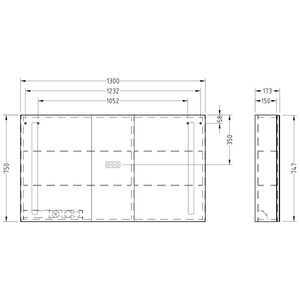villeroy boch my view 14 spiegelschrank 130 x 75 x 17 3 cm mit led beleuchtung a4241300 megabad. Black Bedroom Furniture Sets. Home Design Ideas