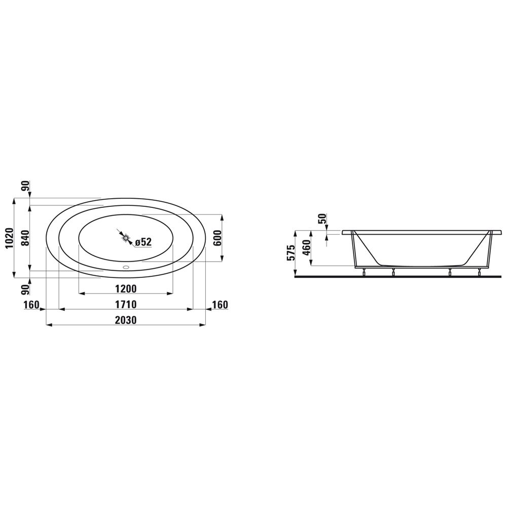 laufen alessi einbau badewanne 204 x 102 cm h2439700000001. Black Bedroom Furniture Sets. Home Design Ideas