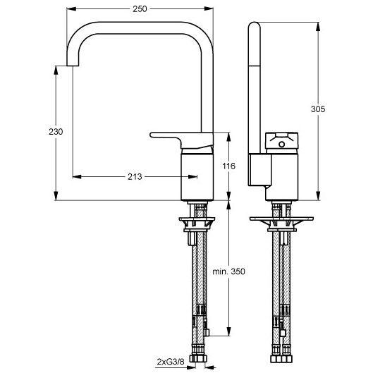 Ideal Standard Active Einhebel-Küchenarmatur, Niederdruck, Art ...