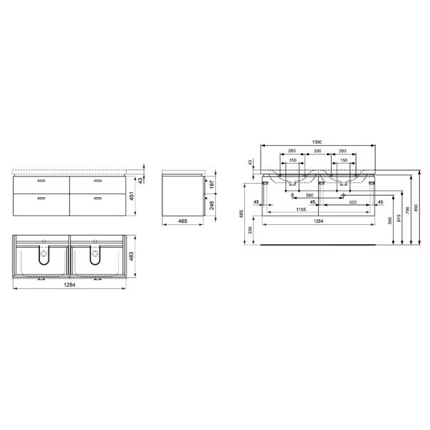 ideal standard connect waschtischunterschrank cube 130 cm. Black Bedroom Furniture Sets. Home Design Ideas