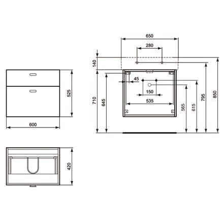 ideal standard connect waschtischunterschrank cube 60 cm. Black Bedroom Furniture Sets. Home Design Ideas