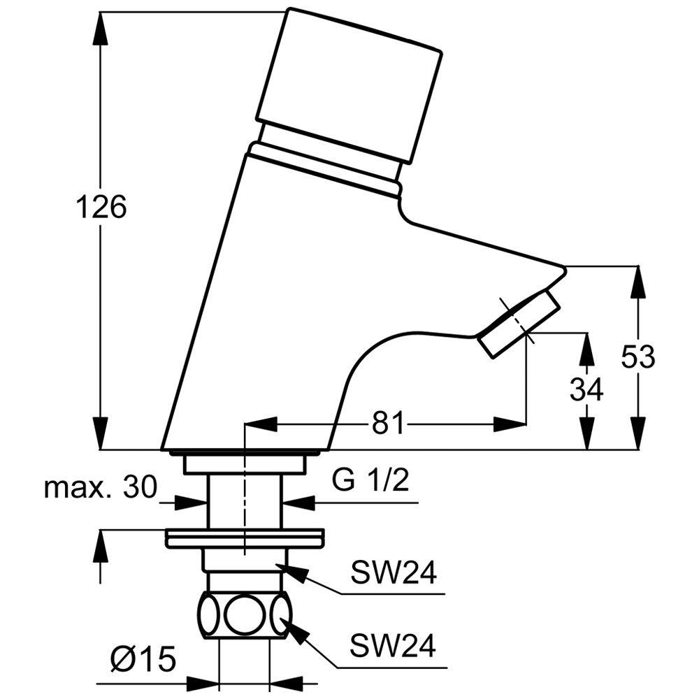 ideal standard ceraplus piccolo selbstschlussarmatur b8301aa megabad. Black Bedroom Furniture Sets. Home Design Ideas