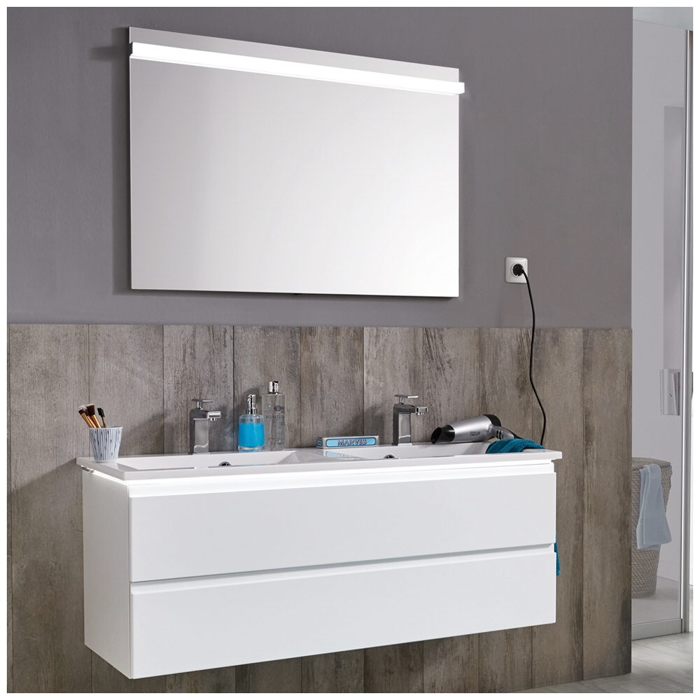 Innovativ Puris Ace Flächenspiegel 100 x 5,9 x 72 cm, mit LED Beleuchtung  FI72