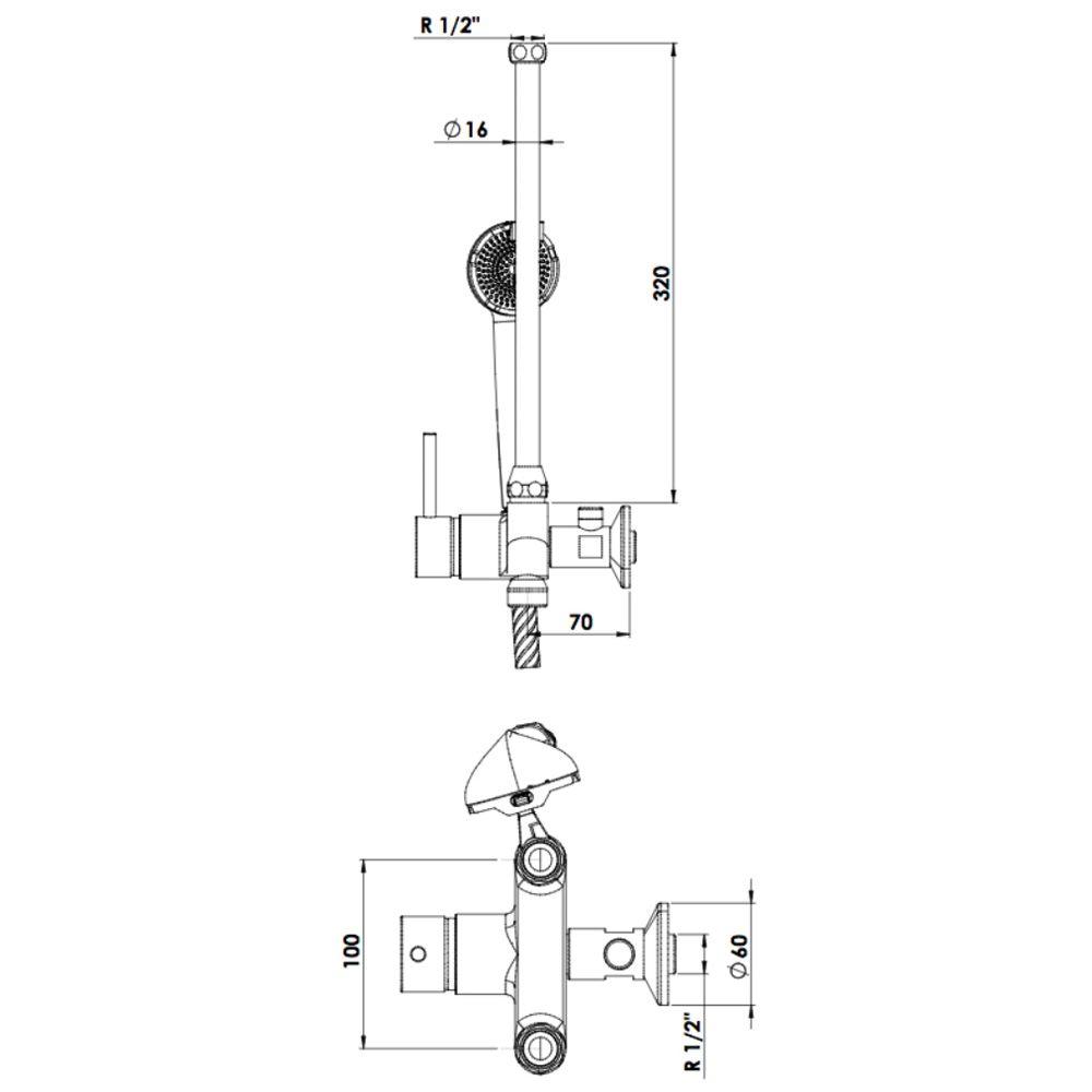 kwc einhebelmischer dusche niederdruck mit gerader armatur megabad. Black Bedroom Furniture Sets. Home Design Ideas