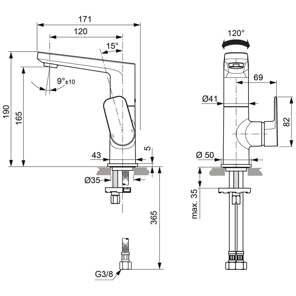 Hervorragend Ideal Standard Tonic II Waschtischarmatur mit hohem Auslauf, ohne  FC97