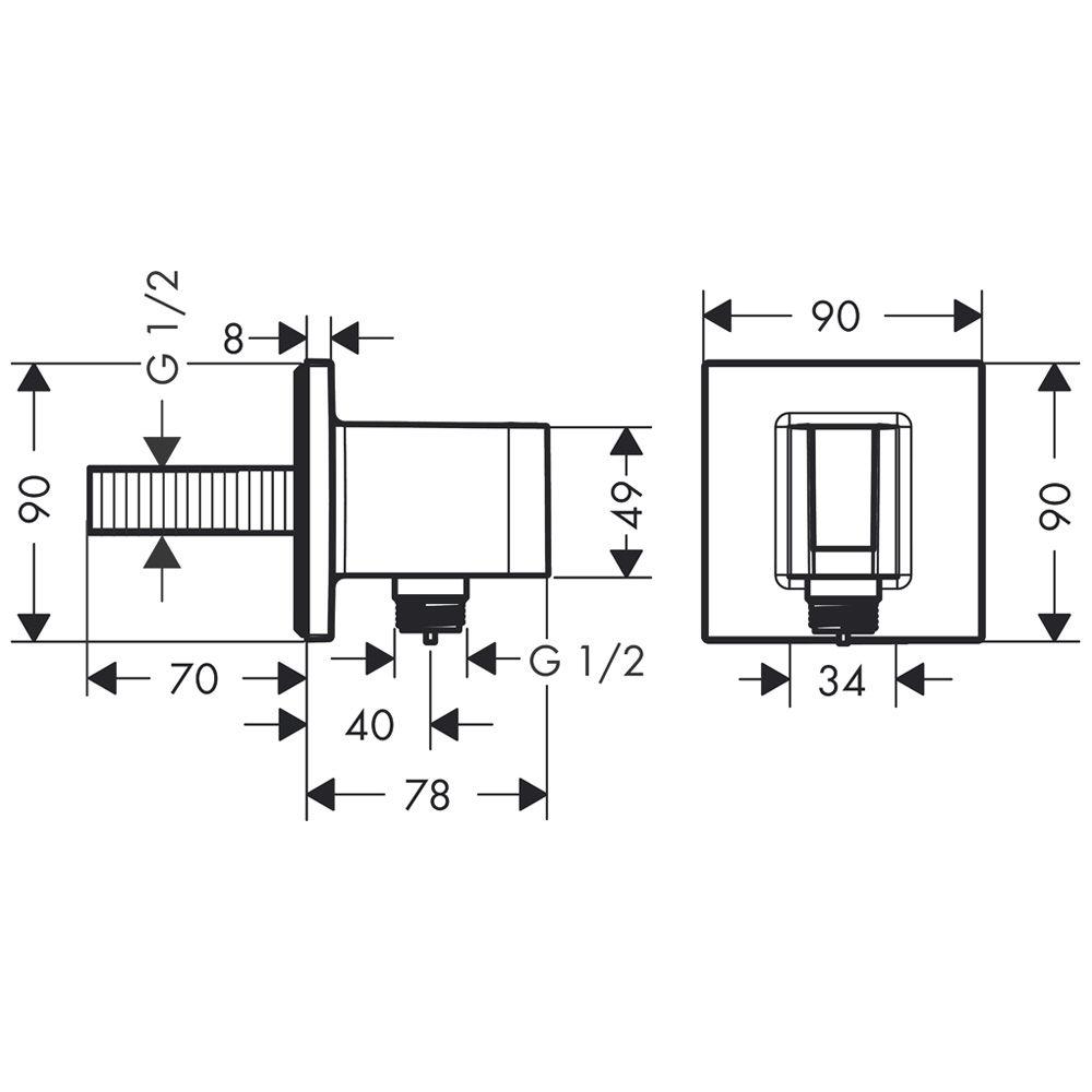 hansgrohe fixfit porter square 26486000 megabad. Black Bedroom Furniture Sets. Home Design Ideas