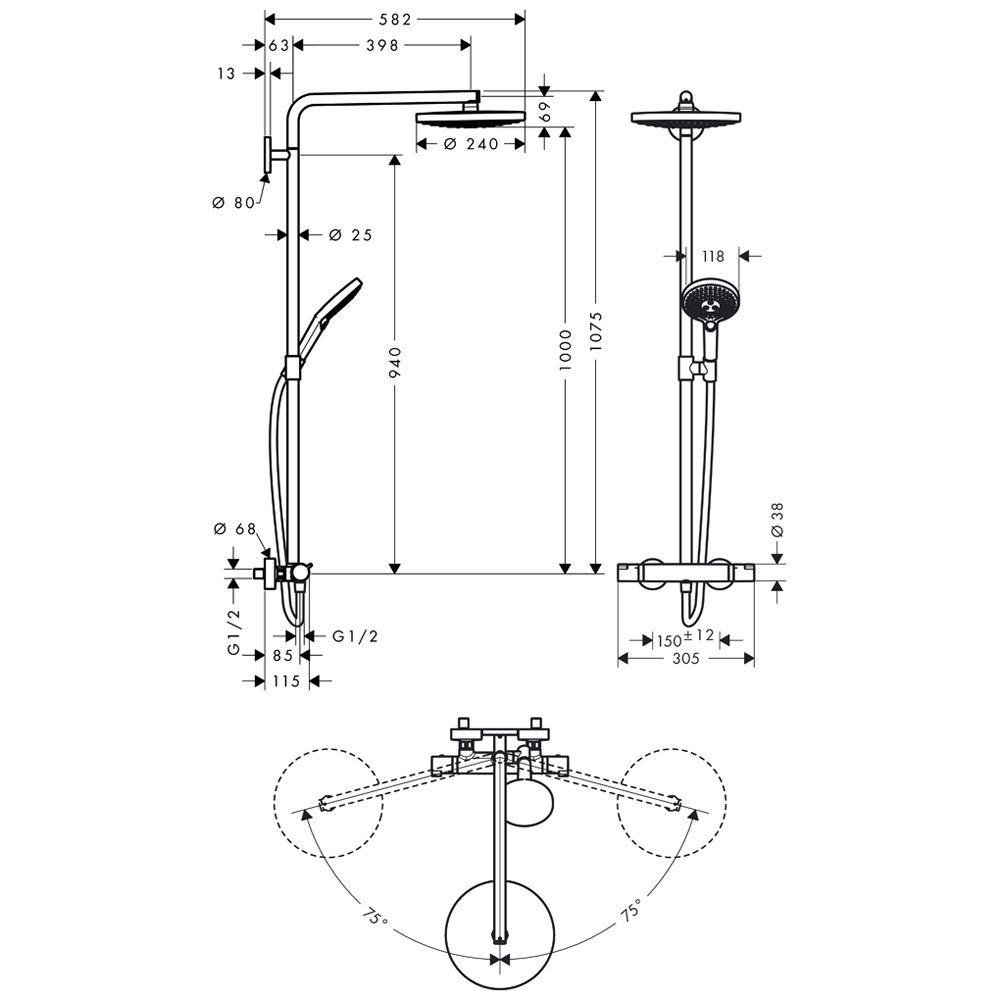 hansgrohe raindance select s 240 2jet showerpipe 27129000 megabad. Black Bedroom Furniture Sets. Home Design Ideas