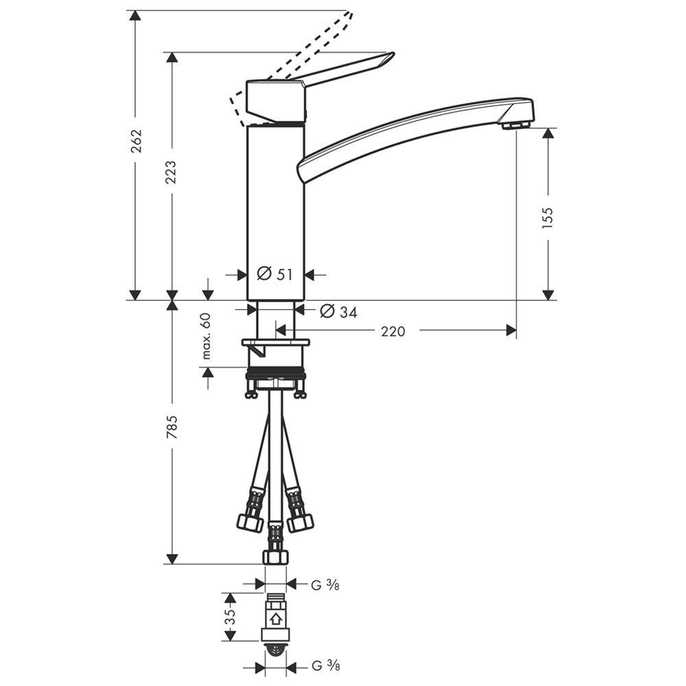 Hansgrohe Focus S Einhand Küchenarmatur für Niederdruck