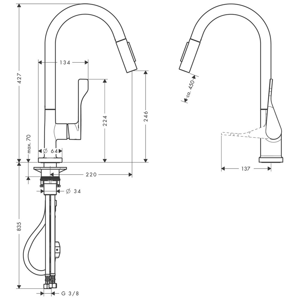 Fabulous Axor Citterio Einhebel-Küchenmischer 39835000 - MEGABAD HB46
