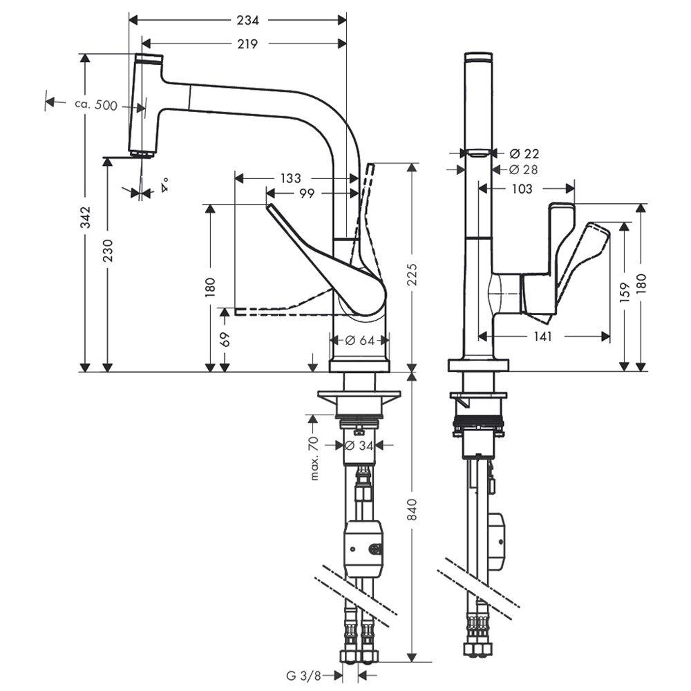 Fabulous Axor Citterio Einhebel-Küchenarmatur mit Ausziehbrause 39861000  HB46