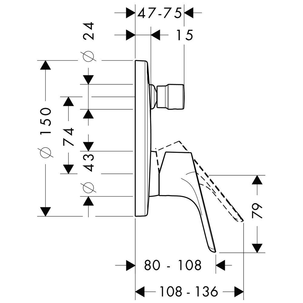 hansgrohe focus wannenmischer unterputz fertigset 31946000. Black Bedroom Furniture Sets. Home Design Ideas