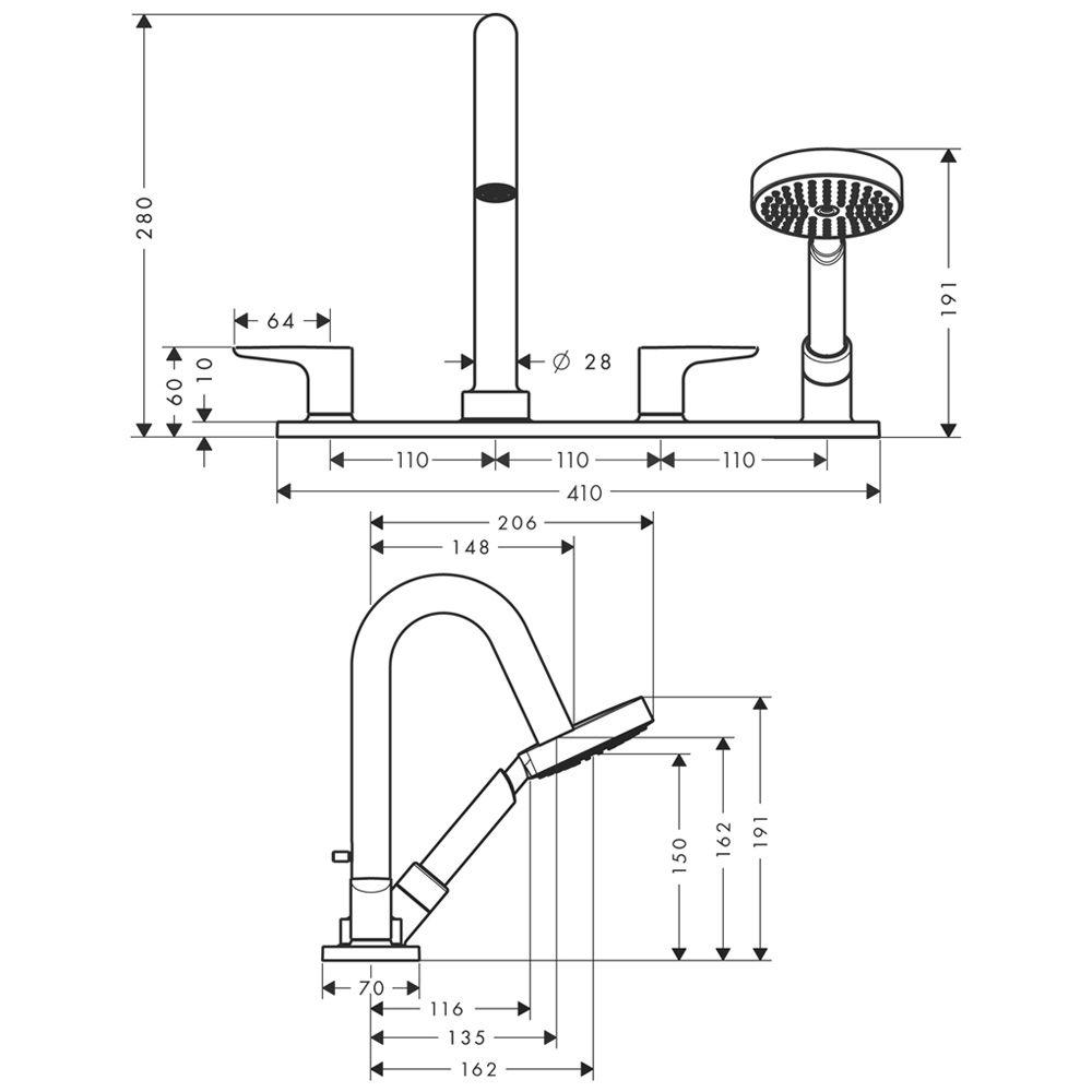 axor citterio m 4 loch wannenrandarmatur mit hebelgriffen und platte megabad. Black Bedroom Furniture Sets. Home Design Ideas